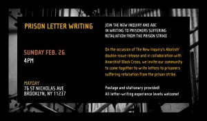 Prison Letter Writing @ Mayday Space | New York | United States